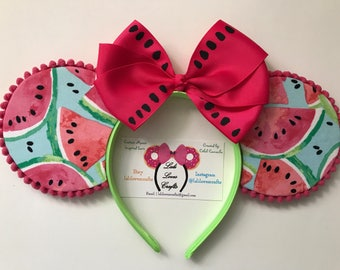Watermelon Summer fruit inspired  Minnie Mouse Ears