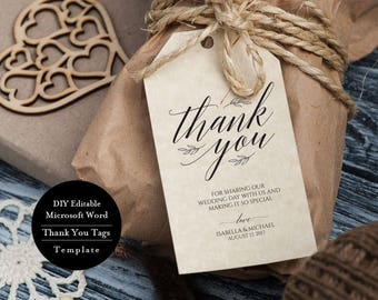 Printable Thank You Tags, Thank You Tag, Wedding Thank You Tags Template, Instant Download Tags, Editable Wedding Favour Tags, MSW28