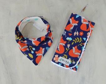 Baby Girl Burp Cloth and Bib, Baby girl fox bandana bib, Modern drool bib, Modern baby burp cloth, Baby shower gift