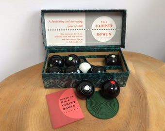 Vintage Set B&A, Brookes and Adams Indoor Carpet Bowls - 8 plus jack, with bix, instructions