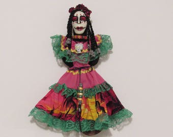 """OOAK Art Doll, """"Day of the Dead"""" Wall Hanging,Polymer Clay Wall Art by Susan Massey"""