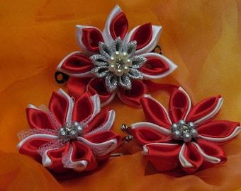 Triple flower Kanzashi