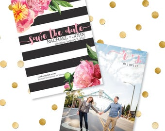 Peony + Stripe Save the Date
