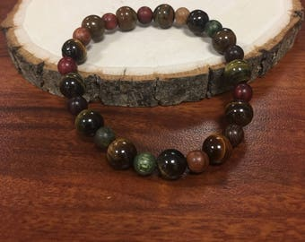 Wooden and Glass Beaded bracelet
