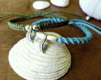 Macramé with leaf detail bracelet