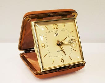 Vintage CORAL Wind Up Folding Travel Date Alarm Clock, Working
