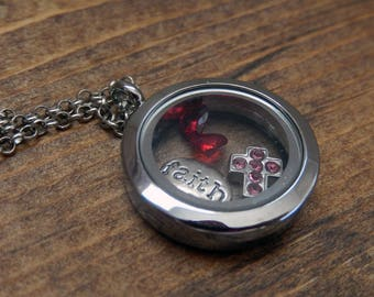 Floating Locket Necklace, round, living locket necklaces, jewellery, Christian, inspirational, gift