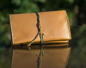 Leather tobacco pouch camel brown  and baby blue