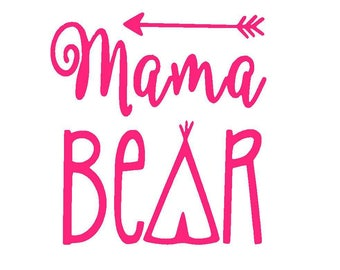 Mama Bear Vinyl Decal | Tribal Decal | Yeti Cup Decal | Car Window Decal | Laptop Sticker | Mom | Bear |
