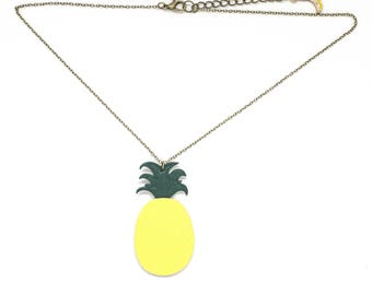 """Handmade pineapple """"The Pineapple"""" yellow and green leather necklace"""