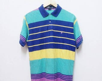 Hot Sale!!! Rare Vintage 90s POLO RALPH LAUREN Striped Polo Shirt Hip Hop Skate Swag Small Size