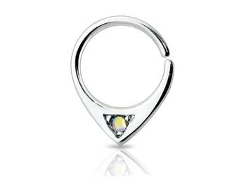 316L Surgical Steel Single Gem Abstract Septum Ring
