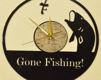 Gone Fishing vinyl record clock *FREE SHIPPING*