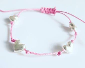 Pink heart friendship bracelets