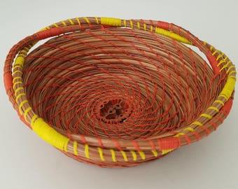 Orange & Yellow Pine Needle Basket - Natural - Handmade organic recycled material Black Walnut slice - Bowl - Hand Made in FL USA - 37.00