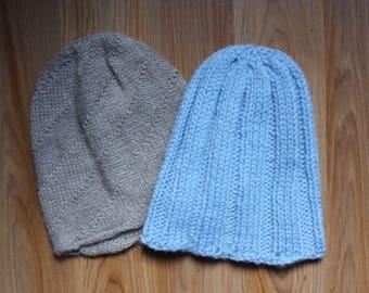 Powder Blue Beanie Hat, Machine Washable Merino Wool, Adult Small, Teen, Kids Hat, Made in USA