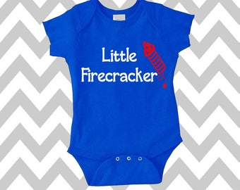 Little Firecracker Onesie Funny Baby Onesie Baby Bodysuit Funny Baby Creeper New Baby Baby Shower Gift 4th of July Shirt Independence Day