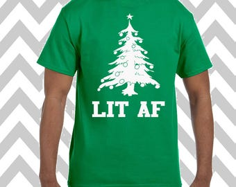 Lit AF Unisex T-Shirt Ugly Christmas Shirt Ugly Sweater Party Funny Christmas Shirt Ginger Bread Man T-Shirt Funny Christmas Tee