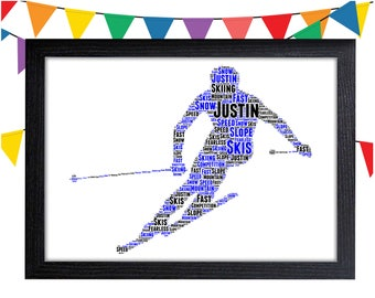 Personalized Gift Skiing Gift For Skier Gifts Snow Sports Snowboarding Ski Wall Prints Wall Art Wall Decor Personalised Gift Wall Art Prints