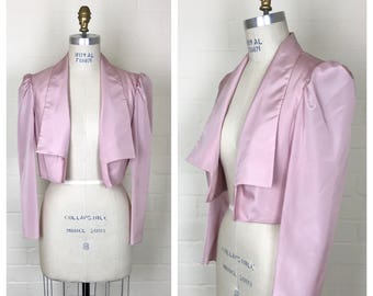 Vintage 80's  pink crop top jacket / shrug / bolero  / medium