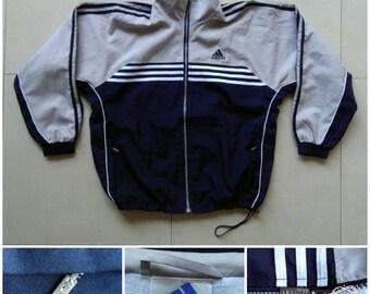 Vtg Adidas Windbreaker Jacket / vintage style jacket / 90s 80s  jogging sport retro / old school nike adidas / tommy hilfiger - Size S