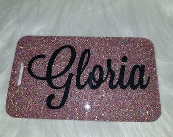 Glitter Dipped Luggage Tag