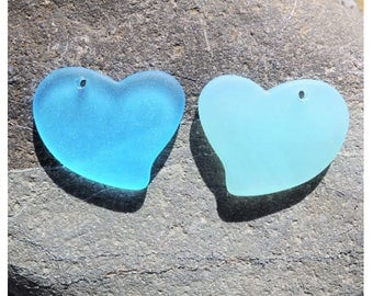 Cultured sea glass large fancy flat heart pendants 30x30mm, 1 pc