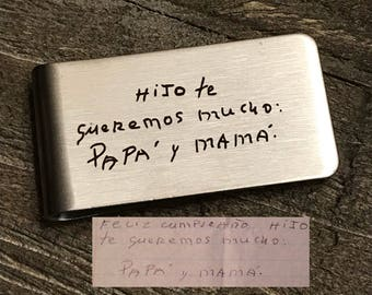 Handwriting Money clip |  Engraved Money clip | Handwritten Engraved Moneyclip | Gift for Him | Man Gift | Actual Handwriting | Signature