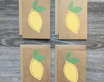 Set of 4- Lemon Blank Note Cards