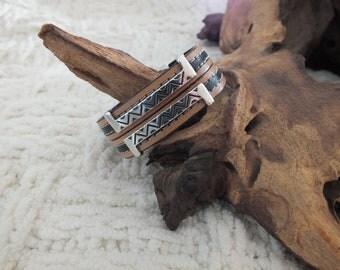 SALE... black and tan leather bracelet