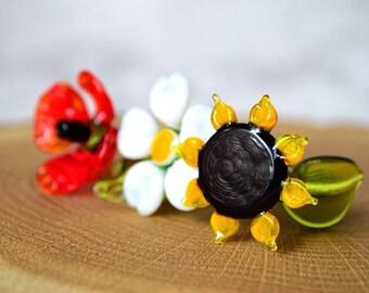 Set of glass flowers, daisy, sunflower, poppy figurine blown flower sculpture art glass flower murano toys garden flower miniatures figures