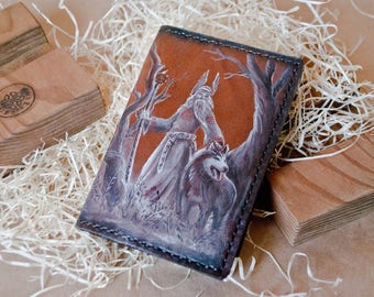 Leather Passport Cover / Travel Passport Cover/  Veles God / Handmade/ Handpainted/ Customizable/ Genuine leather cover/