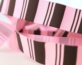 "7/8"" Pink & Brown Vertical Stripe Grosgrain Ribbon"