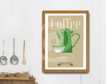 Vintage poster with french design, old green coffe pot, french style poster.