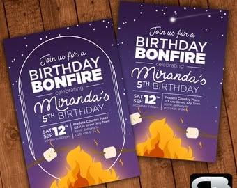 Bonfire Themed Invitation - Bonfire Invite - Bonfire Invitation - Bonfire Birthday Party - Bonfire Party - Digital File Download