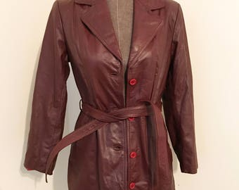 Brurgundy leather jacket by Anthonys size 10!