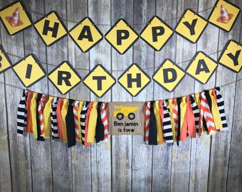 Custom Birthday Party Package, Birthday Package , Construction Birthday Theme, Construction  High Chair Banner, construction Birthday Banner