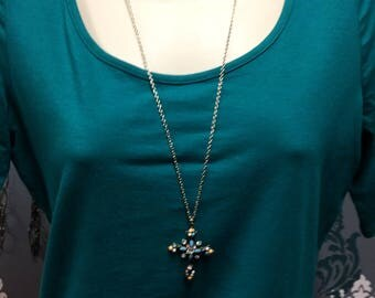 Beaded Cross Necklace, Silver Necklace, Turquoise Necklace, Cross Pendant, Beaded Jewelry, Cross Jewelry