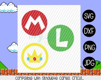 Mario Bros Luigi Princess peach Logo SVG Png Jpg Cut Files Sublimation Iron on transfer paper t shirt