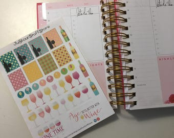 Wine time Planner stickers. Wine planner. Adult sticker. Beverage stickers. Wine planner. Drink stickers for planner. Alcohol stickers.