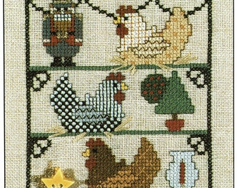 Three French Hens by Heartstring Samplery Counted Cross Stitch Pattern/Chart
