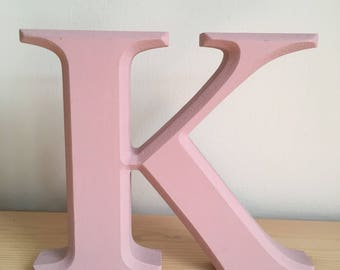 Hand painted dusty pink freestanding letter K