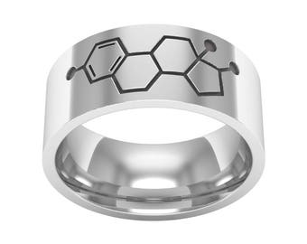 Estrogen Molecule Ring, Silver Band Ring, Estrogen Molecule Jewelry, Chemistry Molcule Ring, Biology Ring, Science Ring, Wedding Band Ring