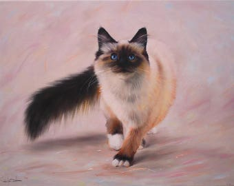 Cat oil, Animals portrait, Gift for a loved one, Original oil painting.