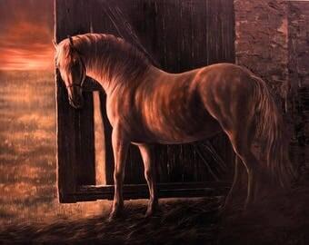 Horse, Sunset, Horse at sunset, Original oil, Gift