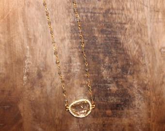 Quartz Stone Pendant on Labradorite Rosary Chain