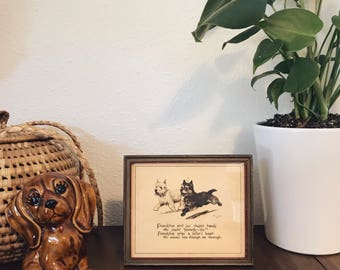 Vintage friendship quote / dog illustration / scotty dogs
