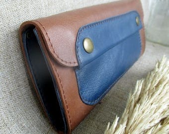 Brown leather womens long wallet classic purse leather accessories coin purse mother's day phone wallet gift for mom
