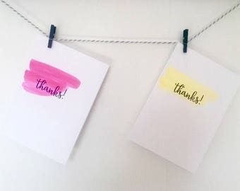 Six handmade thank you cards- Yellow