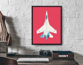 Sukhoi Su-27 Flanker Fighter Jet Aircraft Poster Wall Art Print